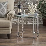 Orson Acrylic and Tempered Glass Square Circular Table (Color: Clear)
