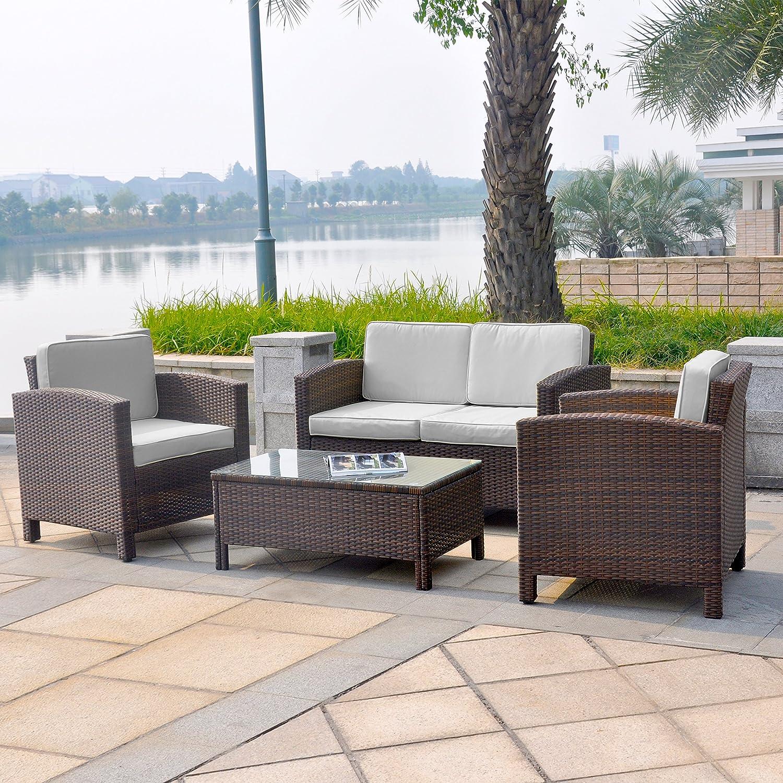13tlg. Deluxe Lounge Set Gruppe Garnitur Gartenmöbel Loungemöbel Polyrattan Sitzgruppe – handgeflochten – braun-mix von XINRO® online kaufen