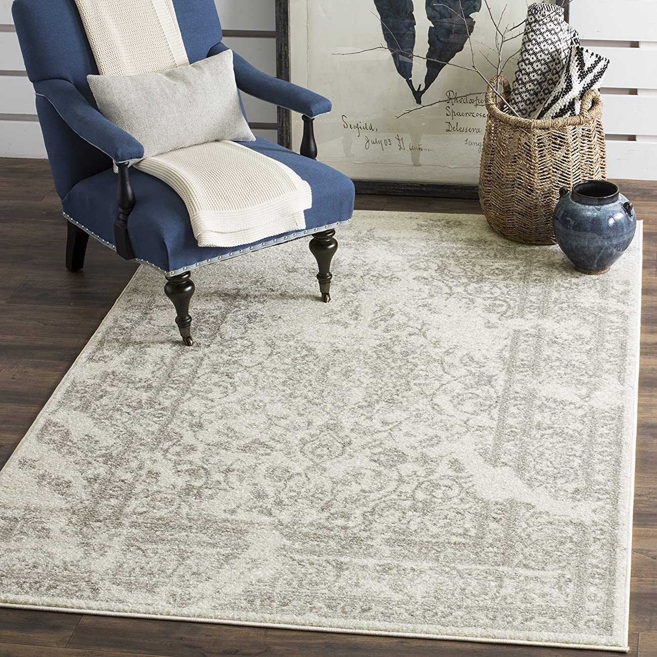 Safavieh Adirondack Collection ADR101B Ivory and Silver Oriental Vintage Area Rug (8' x 10') 0