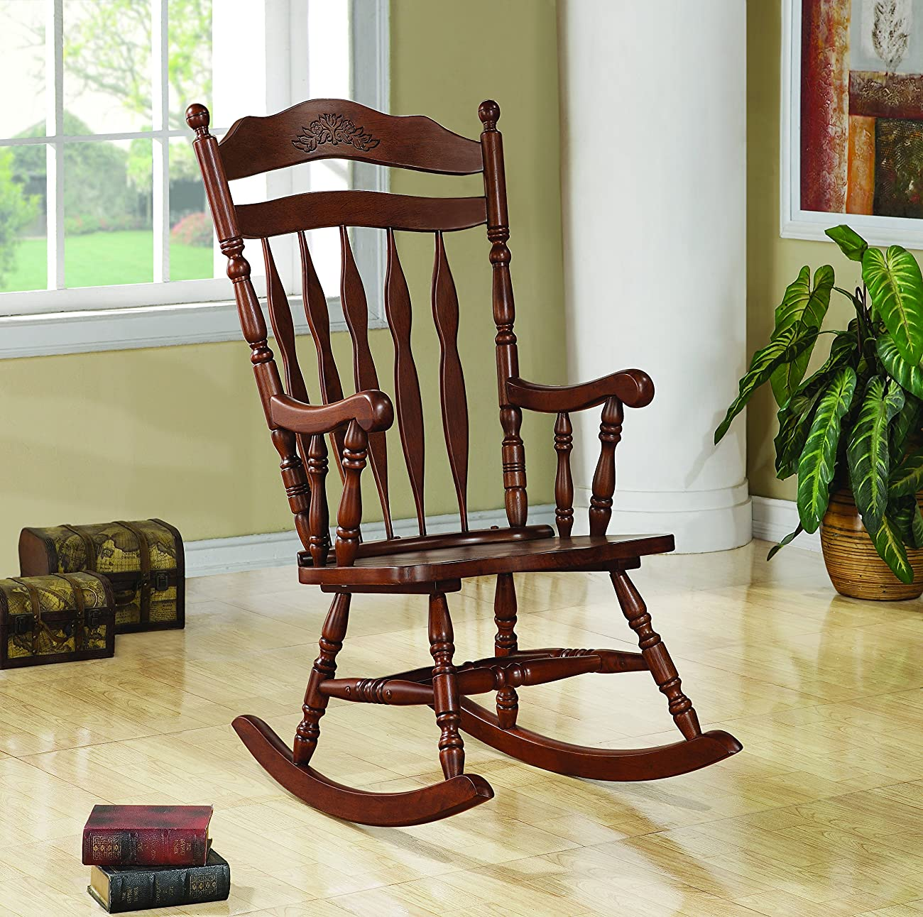 Coaster Rocking Chair with Carved Detail in Medium Brown Finish 0
