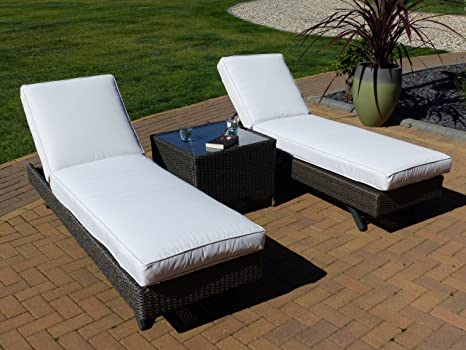 Oceans Rattan Furniture - 2 Caribbean Loungers & 1 Bali Side Table - Mocha