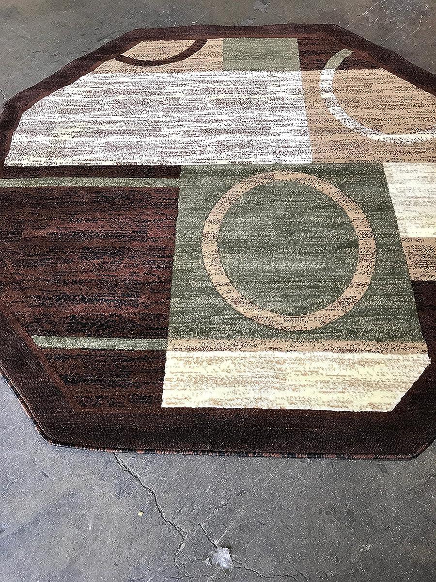 Modern Octagon Area Rug Brown With Green Americana Design 1497 (7 Feet 3 Inch X 7 Feet 3 Inch)