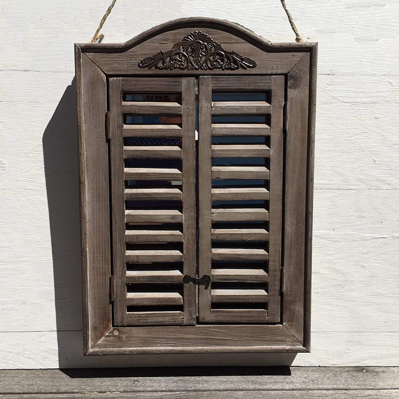 The French Country Style Rustic Window Mirror with Shutters, Sustainable Wood, Approx. 18 Inches High, Distressed Gray Wash with Vintage Style Metal Decoration, By Whole House Worlds 2