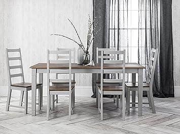 Noa & Nani –Juego de mesa de comedor y 6sillas Canterbury, en color gris seda y madera de pino