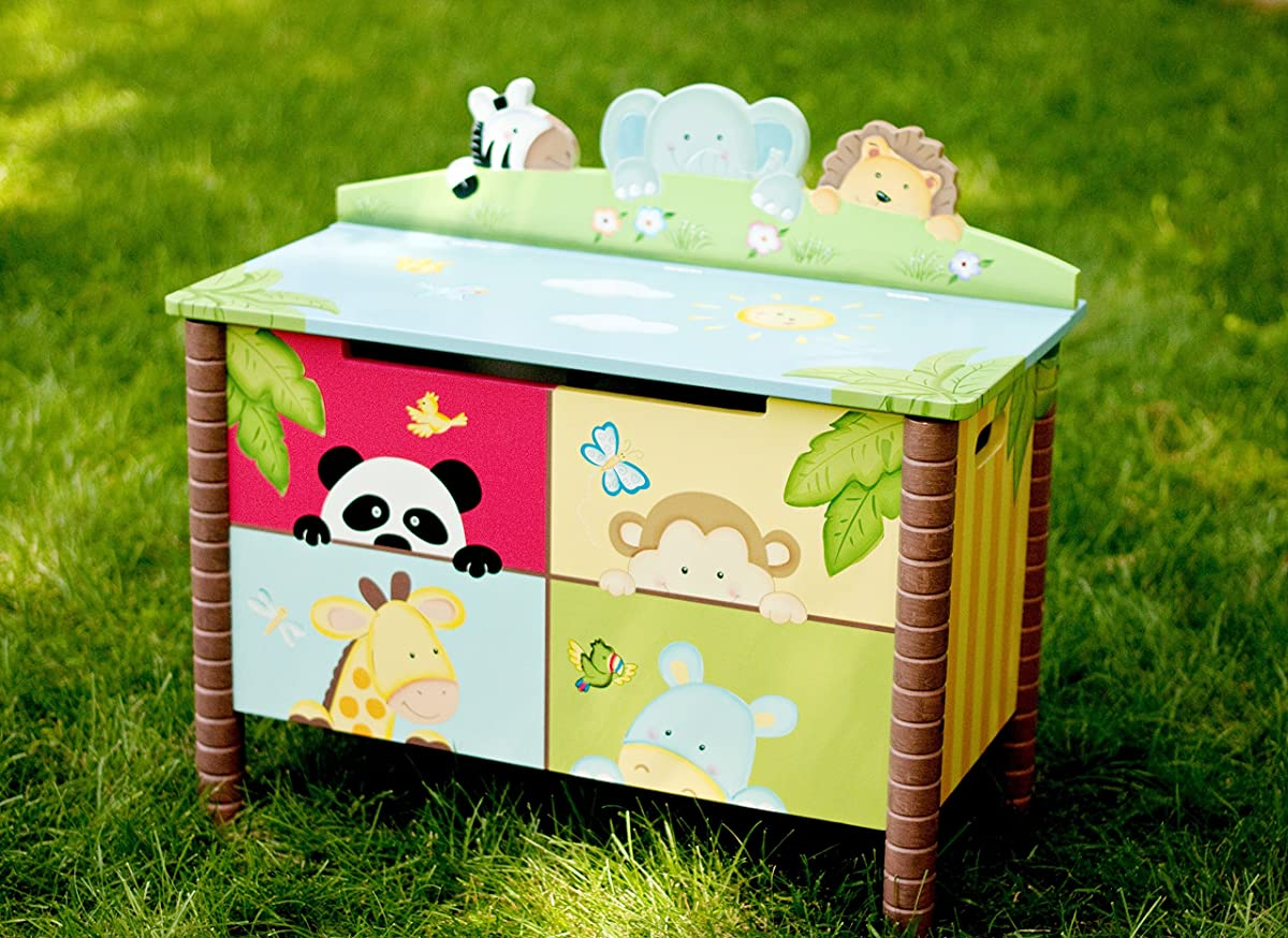 Sunny Safari Animals Thematic Kids Wooden Toy Chest with Safety Hinges