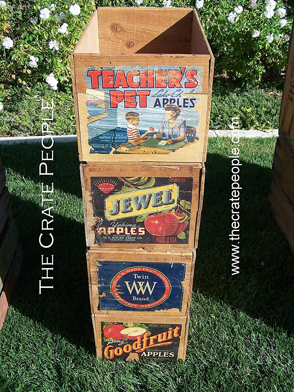 Vintage Wood Apple Crates circa 1940's - 50's - Colorful Old Labels HUNDREDS in stock	 0