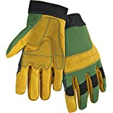West Chester John Deere JD00009 Top Grain Cowhide Leather Work Gloves with Reinforced Palm: Large, 1 Pair (Color: Yellow/Green, Tamaño: Large)