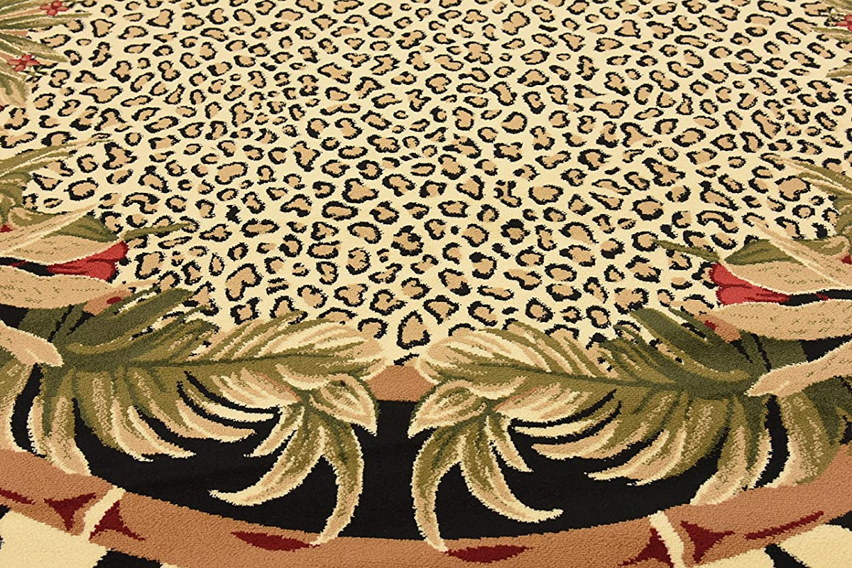 Unique Loom Wildlife Collection Zebra Leopard Botanical Border Animal Cream Round Rug (8 x 8)