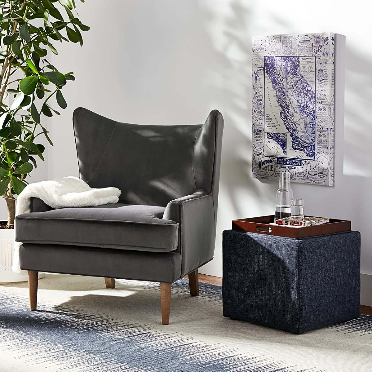 Rivet Chelsea Velvet Wing-Back Accent Chair, Otter Grey