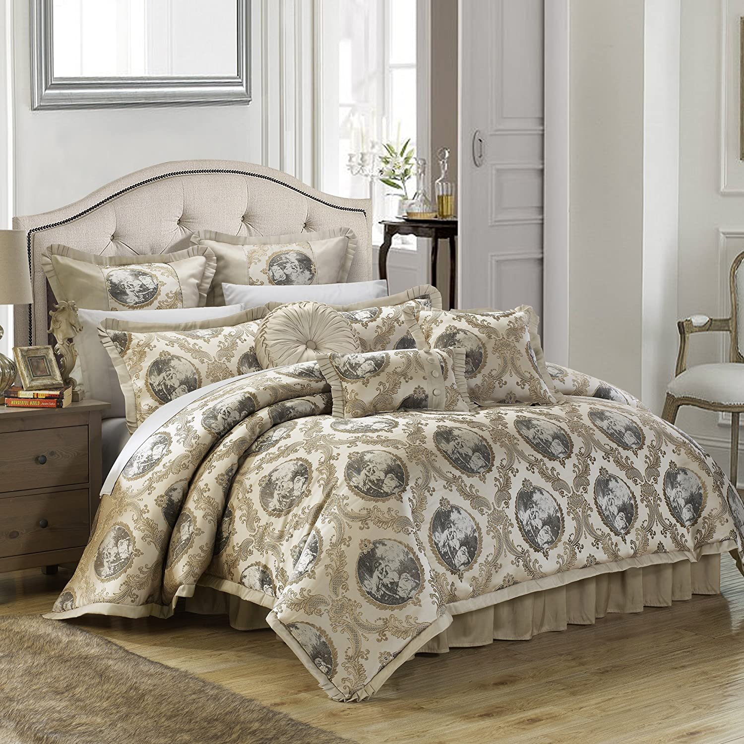 Chic Home 9 Piece Romeo & Juliet Decorator Upholstery Quality Jacquard Motif Fabric Bedroom Comforter Set & Pillows Ensemble, Queen, Beige