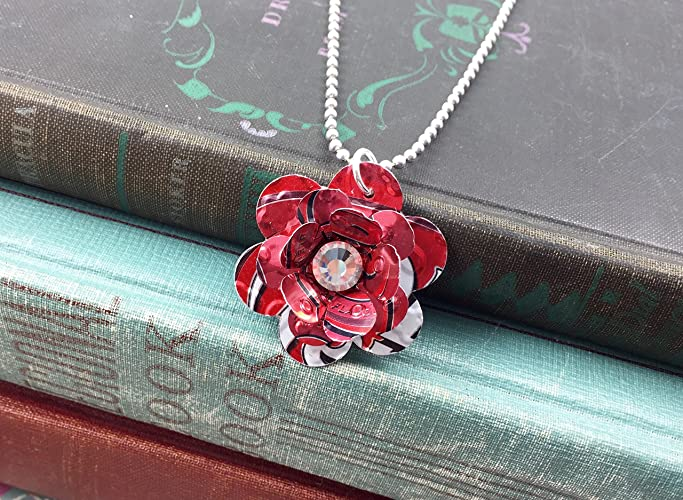 Recycled Soda Can Rose Necklace