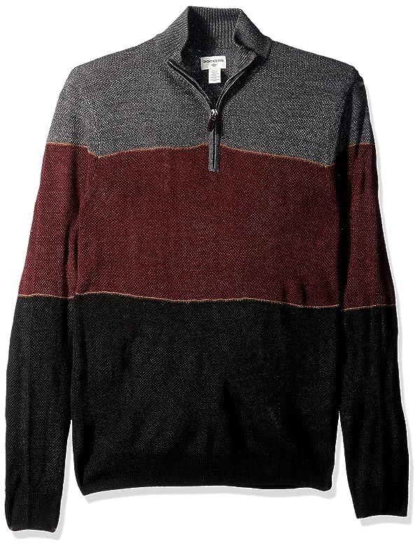 Dockers Men's Quarter Zip Soft Acrylic Sweater, black, Large (Color: Black, Tamaño: Large)