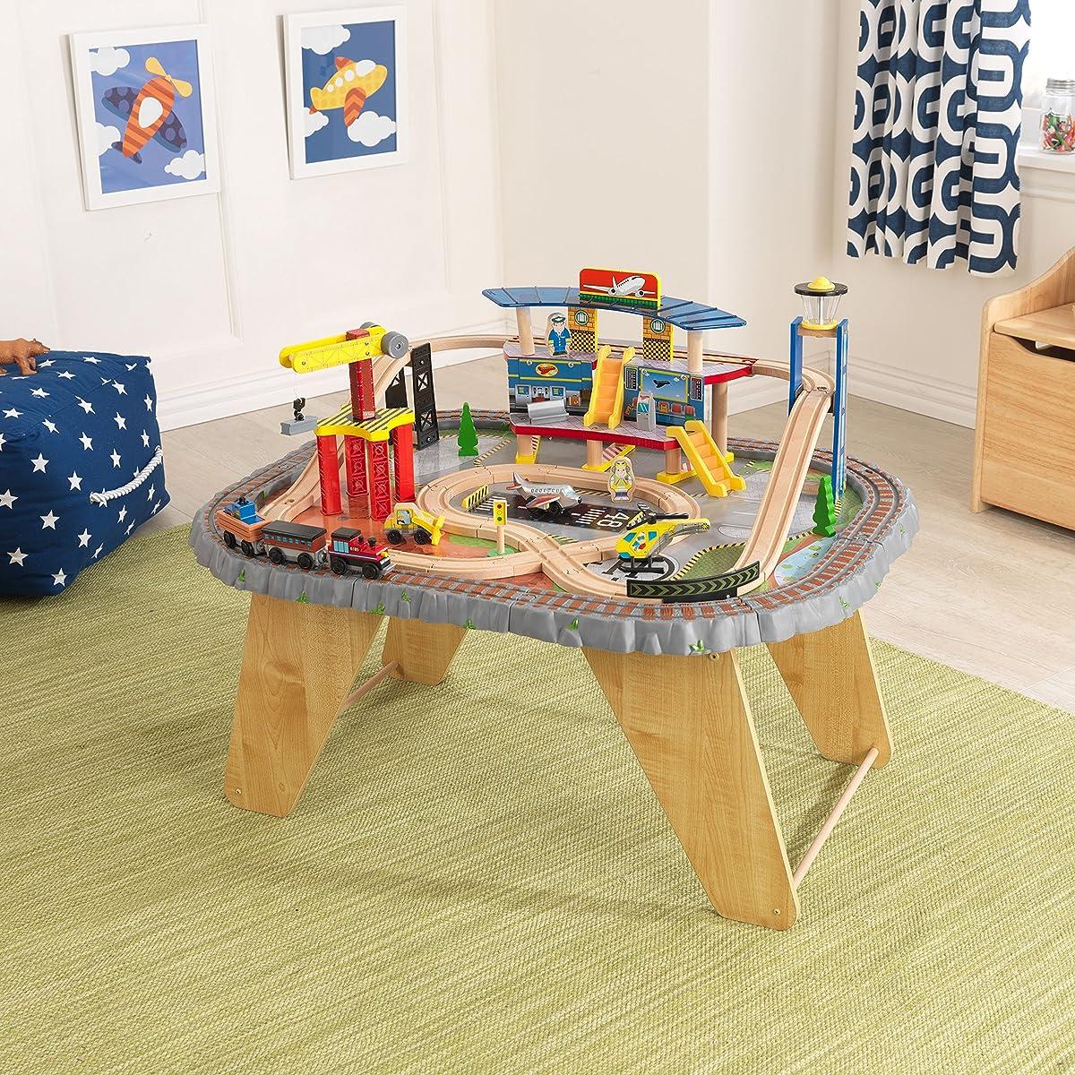 KidKraft 17564.0 Transportation Station Train Set and Table Toy