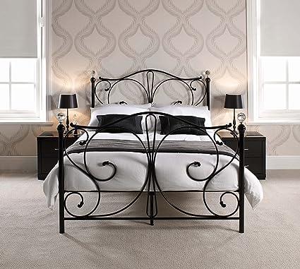 Lit FLORENCE Cadre de lit en métal de style victorien Noir Meubles de chambre, Métal, noir, 135 x 190 cm