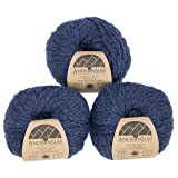 100% Baby Alpaca Yarn (Weight #5) Bulky, Chunky, Craft - Set of 3 Skeins 150 Grams Total- Luxurious and Caring Soft for Knitting and Crocheting - Denim Heather #5 Bulky (Color: Denim Heather, Tamaño: #5 Bulky)