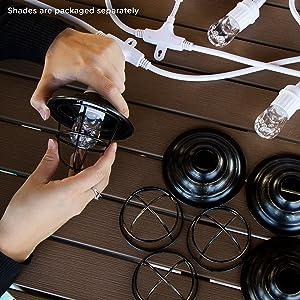 Enbrighten 43369 Classic LED Café String Lights with Oil-Rubbed Bronze Lens Shade, White, 24ft, 24 ft, White Oil Rubbed Bronze (Color: White Oil Rubbed Bronze, Tamaño: 24 ft.)