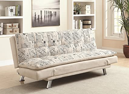 Coaster Home Furnishings Casual Sofa Bed, Clear/Beige