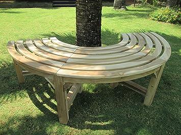 halbe baumbank aus teakholz massivholz holzbank. Black Bedroom Furniture Sets. Home Design Ideas