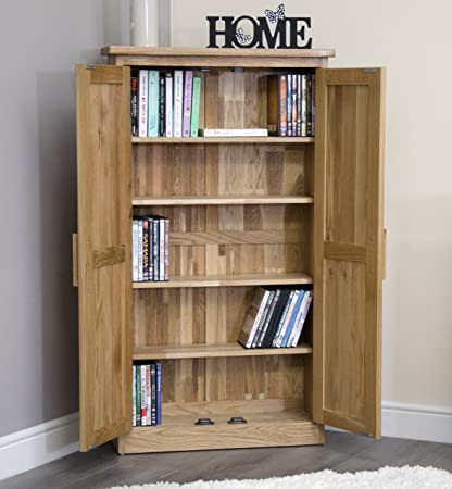 Arden Solid Oak Furniture CD DVD Cabinet Cupboard