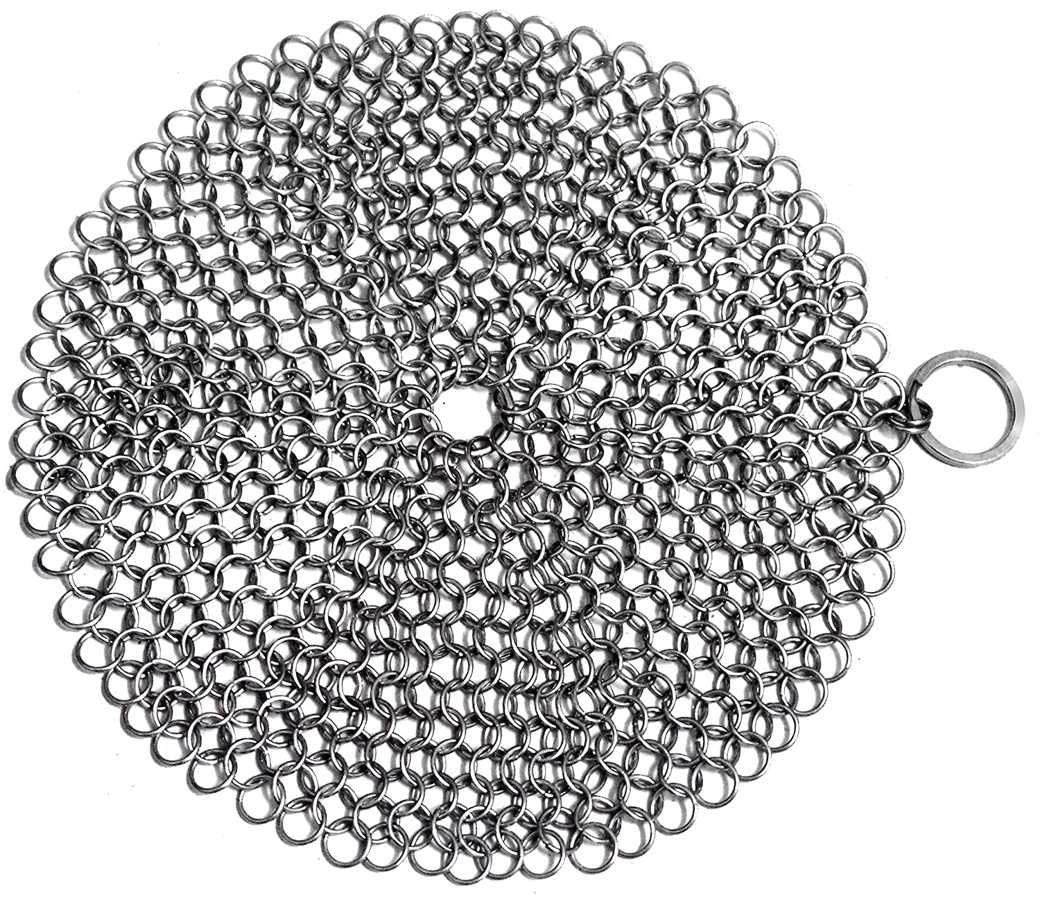 "Nicetar Cast Iron Cleaner Skillet Chainmail Scrubber Premium 316 Stainless Steel 7"" Round"