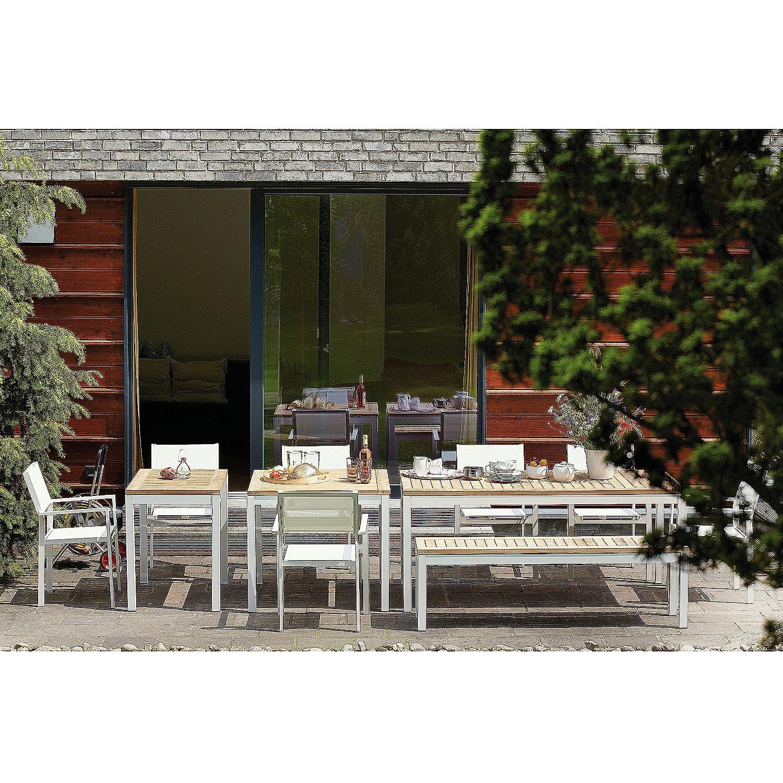 Quadrat Tisch - Gestell weiß, Platte Teak natur / 90 x 90 cm, h 76 cm