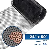 Fencer Wire 16 Gauge Black Vinyl Coated Welded Wire Mesh Size 0.5 inch by 0.5 inch (2 ft. x 50 ft.) (Tamaño: 2 ft. x 50 ft.)