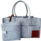 Diaper Caddy Organizer | Baby Felt Nursery Storage | Portable, Makes A CAR OR Plane Travel Easier | Unisex Shower Gift | by - GQ&C. (Color: Gray, Tamaño: Small, 12oz)