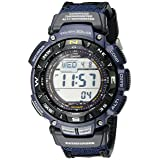 Casio Men's Pathfinder PAG240B-2CR Solar Powered Sport Watch with Black Leather and Blue Cloth Band (Color: Black/Blue, Tamaño: One Size)