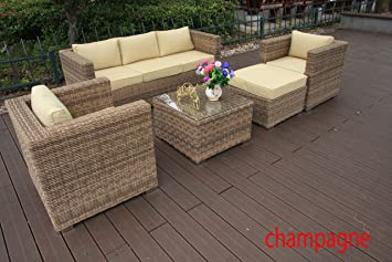 RATTAN THREE SEATER SOFA SET 5pcs,GARDEN FURNITURE, CONSERVATORY FURNITURE, FULL ALUMINIUM FRAME, ROUND WEAVE