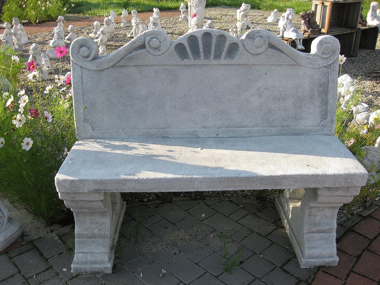 D505 Gartenmöbel Gartenbank mit Rückenlehne aus Steinguss frostfest