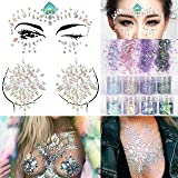 COKOHAPPY 2 Sheets Face & Breast Mermaid Rhinestones Sticker Gem with 8 Boxes 10ml Holographic Chunky Glitter Ultra-thin Colorful Mixed Paillette - Festival Rave Party Jewel Tattoo Set 1 (Color: Body Rhinestone 1)
