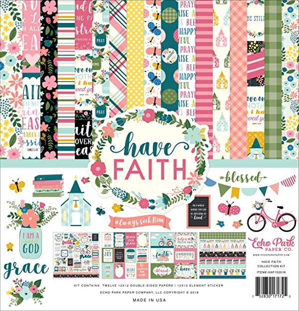 Echo Park Paper Company HAF152016 Have Have Faith Collection Kit, Purple, Pink, Mint Green, Teal, Coral (Color: Purple, Pink, Mint Green, Teal, Coral)