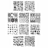 Bundle Monster 10pc Holiday Themed Nail Art Stamping Plates - Occasions Collection, Christmas + NYE (Color: 10pc Christmas/NYE Set, Tamaño: Small)