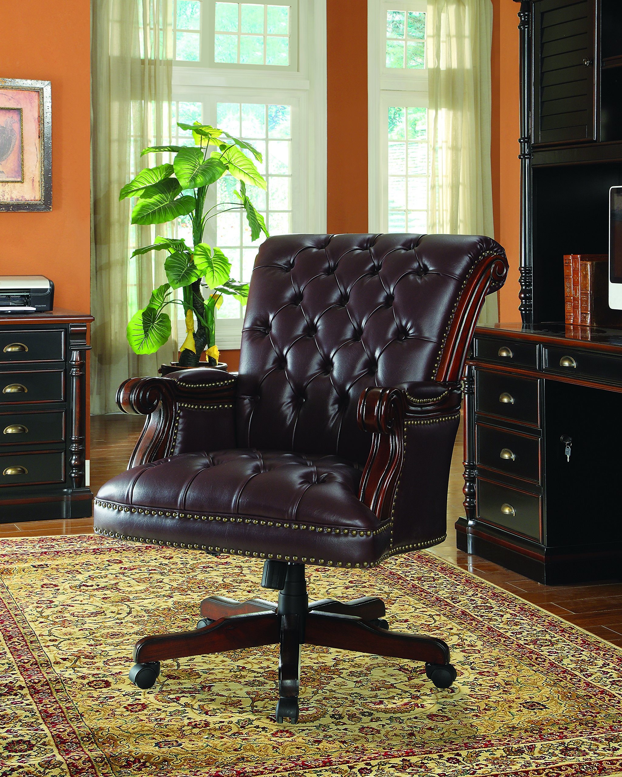 Coaster Traditional Executive Office Chair, Nail Head Trim Tufted Black