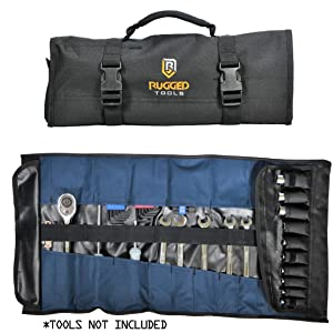 32 Pocket Tool Roll Organizer - Wrench Organizer & Tool Pouch - Wrench Roll Includes Pouches for 10 Sockets - Roll Up Tool Bag for Electrician, HVAC, Plumber, Carpenter or Mechanic - From Rugged Tool (Color: Black)