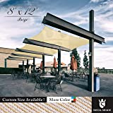 Royal Shade 8' x 12' Beige Rectangle Sun Shade Sail Canopy, 95% UV Blockage, Heavy Duty 200GSM, Custom Made Size (Color: Beige, Tamaño: 8' x 12')