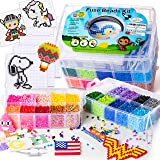 Fuse Beads Kit by ShinShin Creation: 22,000 Beads 5mm with 100 Full Size Patterns, 20 Pre-Sorted Colors, 4 Big Square Clear Pegboards, 2 Tweezers and Ironing Paper, Perler Beads Compatible (Color: multicolor, Tamaño: 5mm)