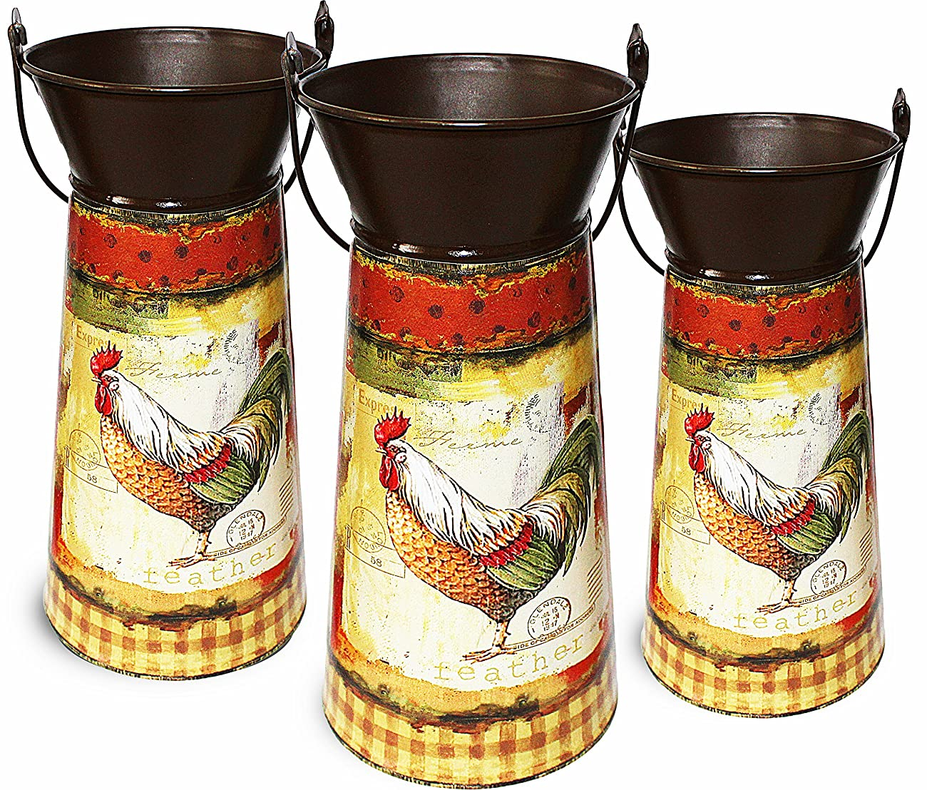 Janazala Metal Flower Pots Designed as Rustic Pitchers with Decorative Vintage Printing of Rooster on Each Flower Pot, Set of 3 5