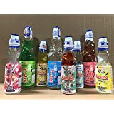 Japanese Ramune Variety Pack ( Set of 8 Include 3 Bottle Giant Ramune)