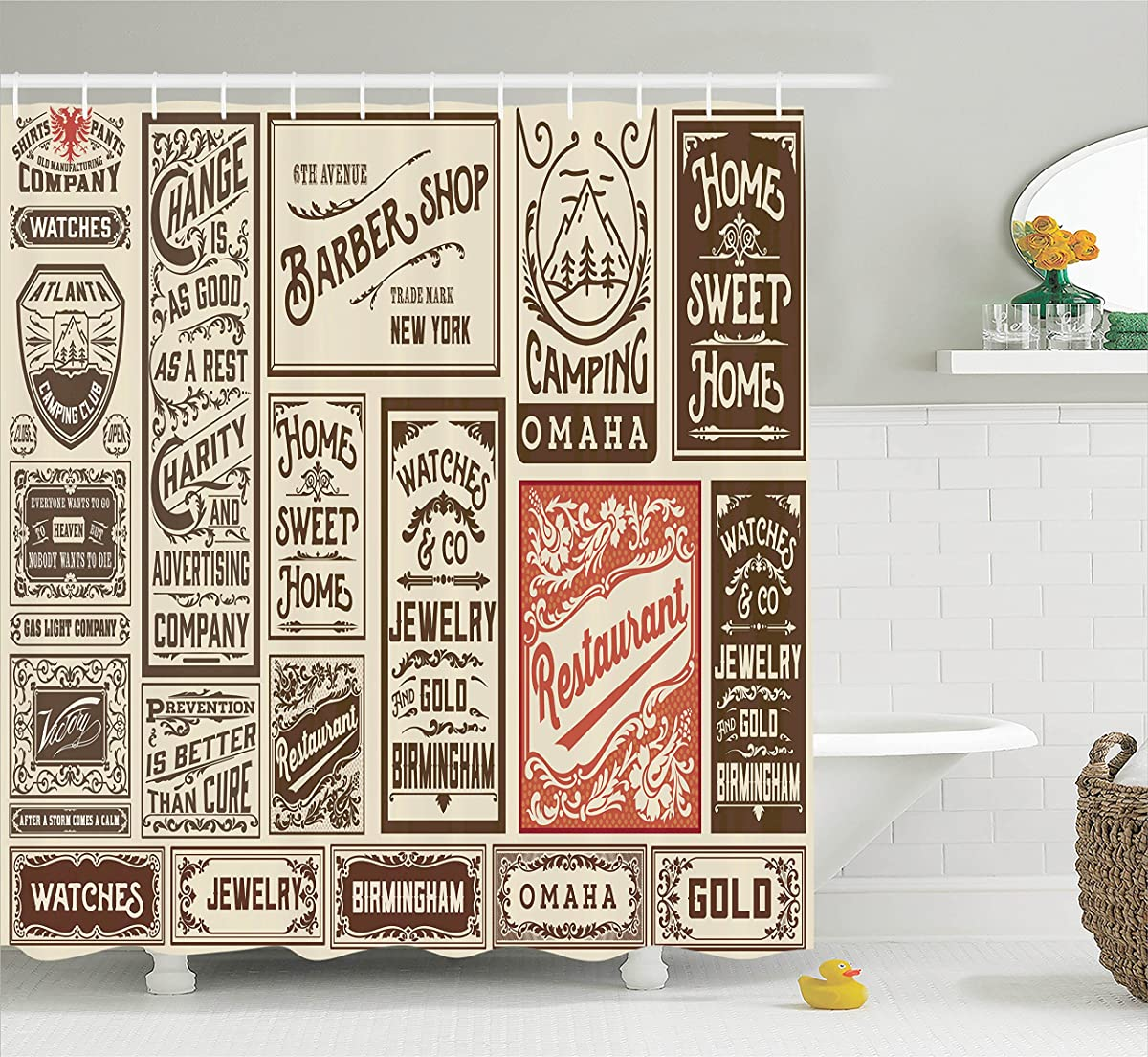Brown Shower Curtain Vintage Decor by Ambesonne, Mega Pack Old Advertisement Designs and Labels Collections Newspaper Nostalgia Image, Polyester Fabric Bathroom Set with Hooks, 69W x 70L Inches, Ivory