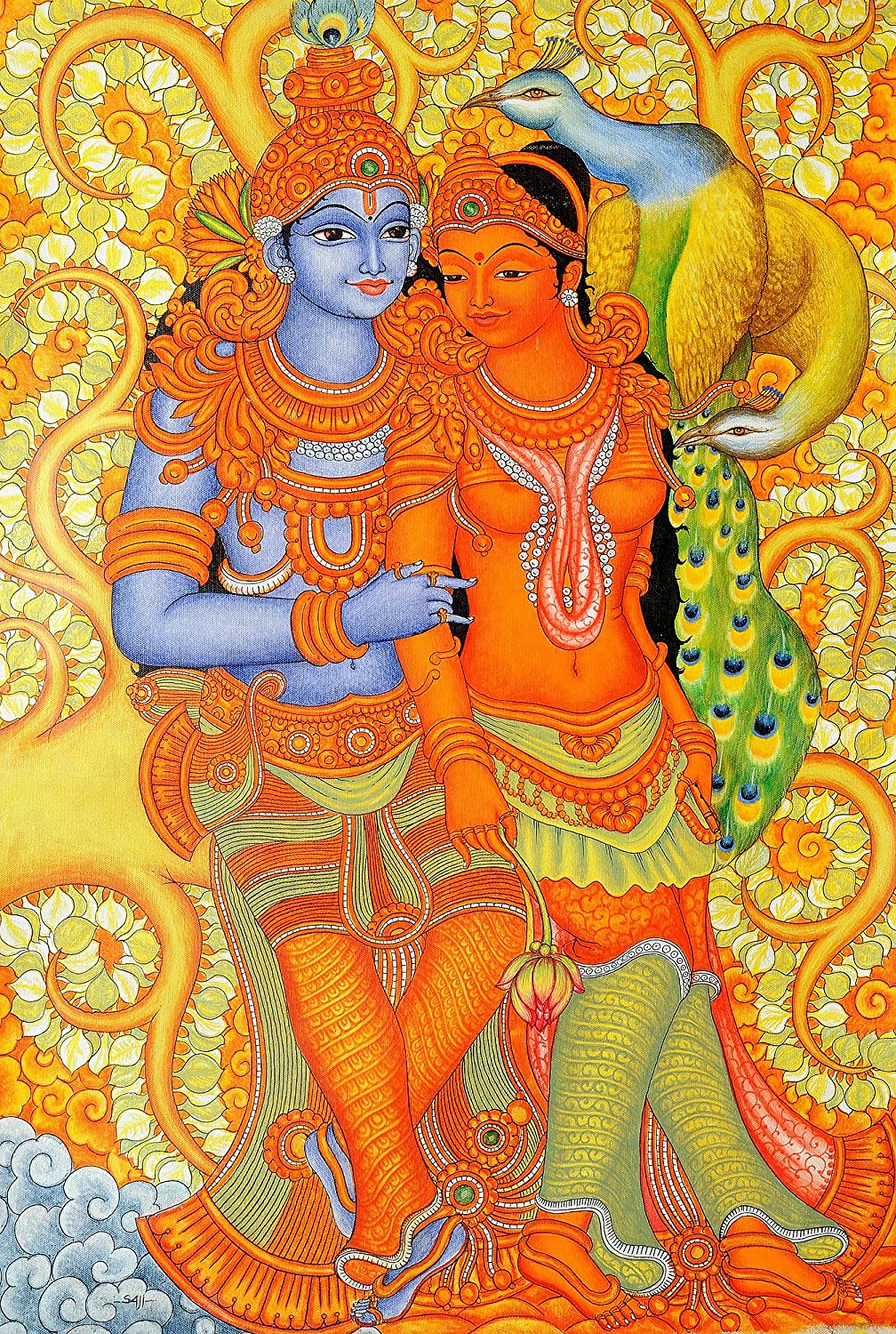 The gallery for kerala mural painting designs free for Buy kerala mural paintings online