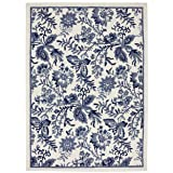 Townhouse Dynasty Floral White/Blue 60-Inch by 84-Inch Rug