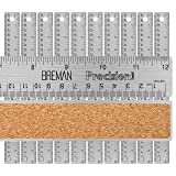 Breman Precision Stainless Steel Metal Rulers I Straight Edge Rulers with Inch and Metric Graduations for School Office Engineering Woodworking I Flexible with Non-Slip Cork Back I 12-Inch 10-Pack (Color: 12
