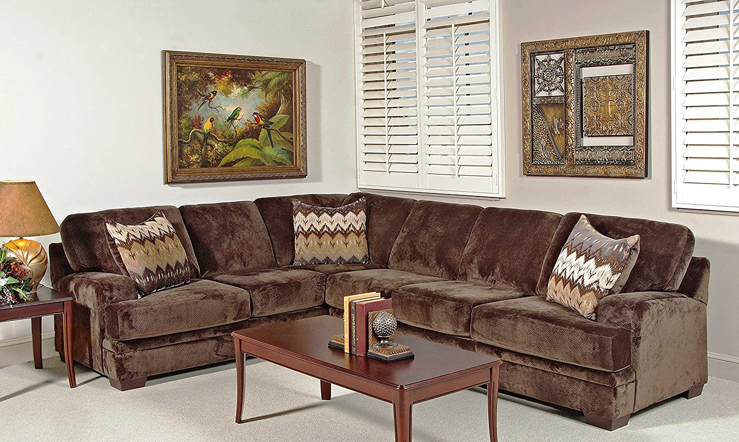 Chelsea Home Furniture Nina 2-Piece Sectional - Olympian Chocolate with Padma Otter Pillows