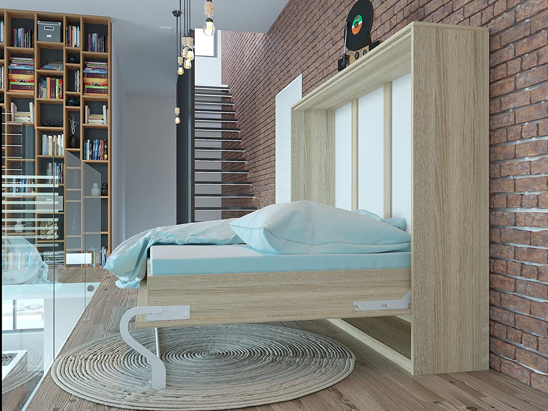 Schrankbett 140cm Horizontal Eiche Sonoma SMARTBett Tonnentaschenmatratze 140×200 cm, ideal als Gästebett – Wandbett, Schrank mit integriertem Klappbett, Sideboard ?