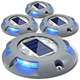 Siedinlar Solar Deck Lights Driveway Dock Light LED Solar Powered Outdoor Waterproof Road Markers for Garden Step Sidewalk Stair Ground Pathway Yard 4 Pack (Blue) (Color: Blue Light)