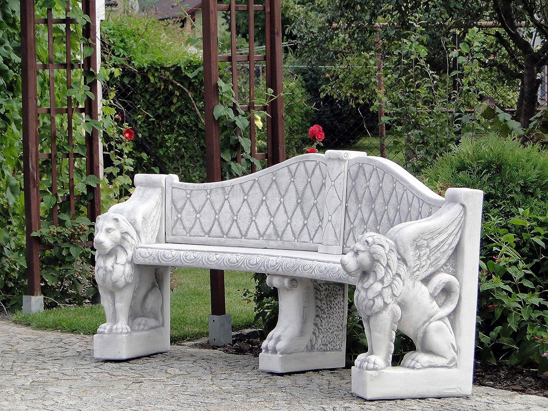 Herrliche Sitzbank Motiv Löwen japanischer Garten aus Steinguss, frostfest günstig online kaufen