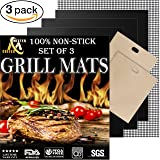 Grill Mat Set of 3 - Professional Non-Stick Grill Mats for BBQ Grilling and Baking - Heavy Duty Best for Cooking on Charcoal, Gas, Oven, Smoker, Electric Grills - Reusable and Easy to Clean (Color: Black, Tamaño: Large)