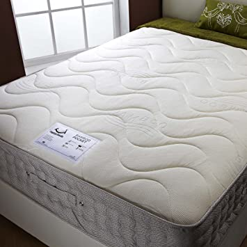 Happy Beds Bamboo Double Mattress Memory Foam Pocket Spring, 4.6 ft