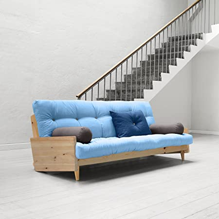 KARUP - INDIE, divano letto composto da futon celeste su struttura in legno naturale